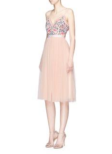 Needle & Thread'Whisper' floral embellished open back midi dress