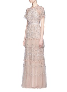 Needle & Thread 'Constellation' floral embellished lace gown