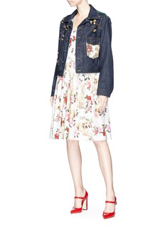 Dolce & Gabbana Mixed button brocade patch cropped denim jacket
