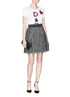 Dolce & Gabbana Floral chiffon trim basketweave flared skirt