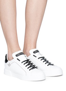 Dolce & Gabbana Heartbeat embroidered leather sneakers