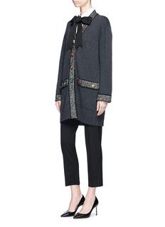 Dolce & Gabbana Jewelled button tweed trim cashmere blend cardigan