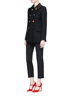 Dolce & Gabbana Jewelled button leopard jacquard collar peacoat