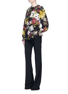 Dolce & GabbanaFloral print smocked silk crepe top