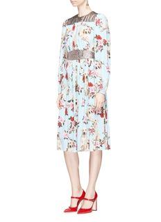 Dolce & Gabbana Dog and rose print crepe de Chine dress