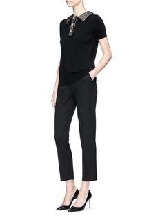 Dolce & Gabbana Bullion patch virgin wool blend cropped suiting pants