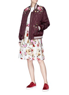 Dolce & Gabbana Mixed button floral embroidered bomber jacket