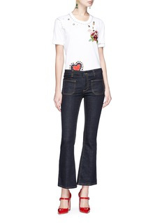 Dolce & Gabbana Embellished floral and heart appliqué T-shirt