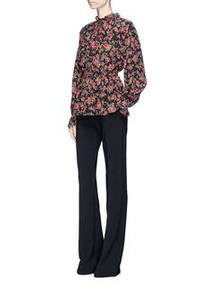 Dolce & Gabbana Floral print smocked silk crepe top