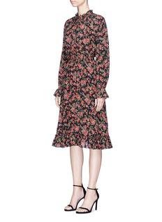 Dolce & GabbanaFloral print smocked silk crepe dress