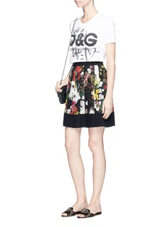 Dolce & Gabbana Floral print pleated crepe de Chine skirt