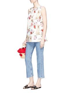Dolce & Gabbana Dog and rose print poplin top