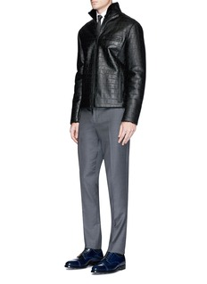 Armani Collezioni Shearling lining croc-embossed leather jacket