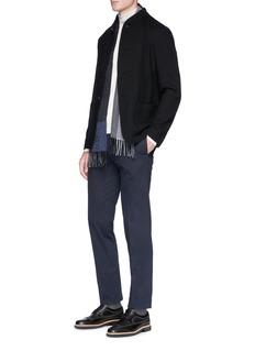 Armani Collezioni Mandarin collar textured jersey soft blazer