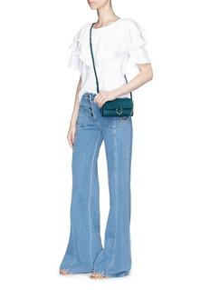 Chloé 'Faye' suede flap leather crossbody wallet