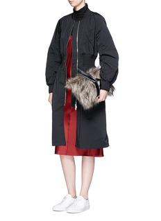 VASIC 'Lou' faux fur panel leather clutch