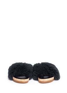 Chloé'Kerenn' Merinillo shearling cork platform slide sandals
