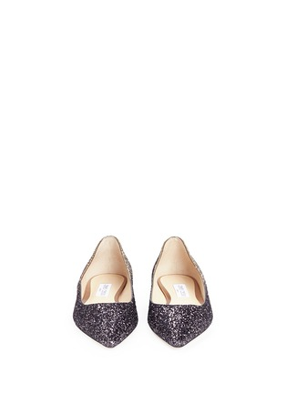 Front View - Click To Enlarge - Jimmy Choo - 'Romy' dégradé coarse glitter skimmer flats
