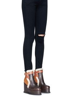 Sacai Colourblock leather and shearling wedge platform boots