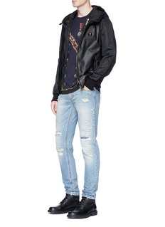 Dolce & GabbanaSheepskin leather panel zip hoodie
