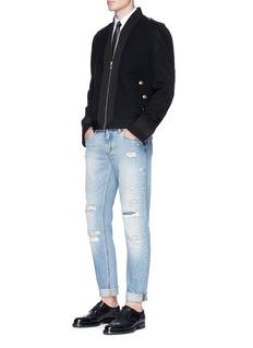Dolce & GabbanaGrosgrain trim virgin wool ceremony jacket