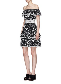 Marc Jacobs Spot print off-shoulder belted crepe de Chine dress