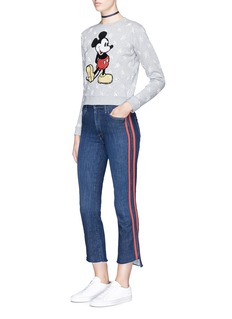 Marc Jacobs Sequin Mickey floral broderie anglaise shrunken sweatshirt