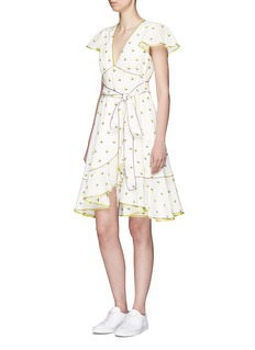 Marc Jacobs Rose fil coupé belted flutter sleeve dress