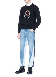 Dolce & Gabbana Beaded skeleton heart patch virgin wool sweater