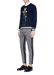 Dolce & Gabbana Stripe outseam cotton-virgin wool cropped pants