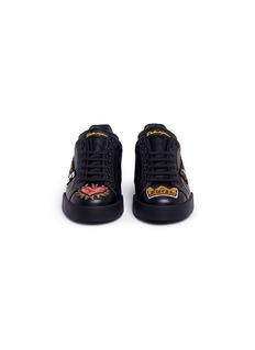 DOLCE & GABBANA PRICE及红心徽章小牛皮运动鞋