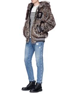 Dolce & Gabbana 3D fox hood faux fur bomber jacket