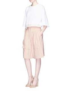 Chloé Pleated wide leg drill shorts