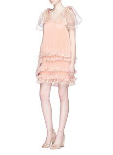 ChloéScalloped trim tiered pleated silk organza dress