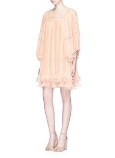 ChloéBatwing sleeve tiered hem pleated georgette dress