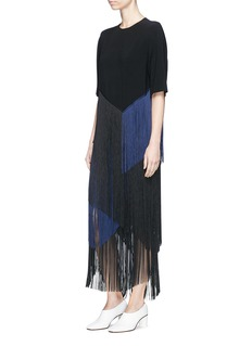 Stella McCartney 'Veronica' colourblock layered fringe cady midi skirt