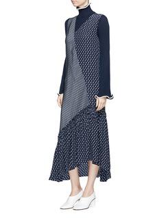 Stella McCartney 'Tereasa' tie print asymmetric panel silk crepe dress