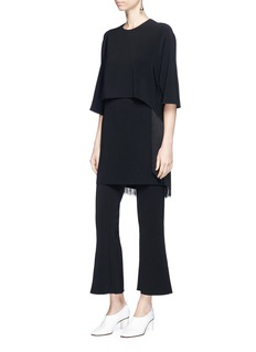 Stella McCartney 'Georgia' fringe back layered cady dress