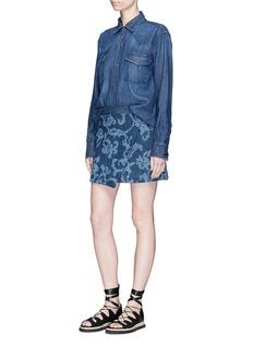 rag & bone 'Marina' abstract motif jacquard denim wrap skirt