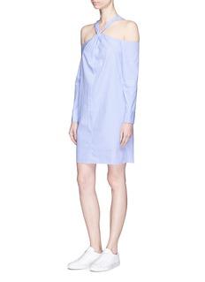 rag & bone 'L/S Collingwood' stripe twist strap cold shoulder dress