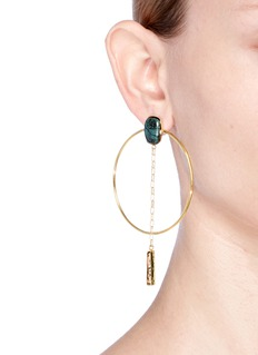 Isabel Marant Étoile 'Dancing' ceramic cabochon chain drop hoop earrings