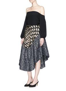 JourdenAsymmetric confetti fil coupé and leopard jacquard skirt