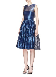 Jourden 'Silver Glint' stripe tiered organza and fil coupé dress