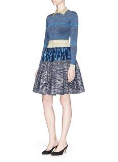 JourdenStripe metallic rib knit cardigan