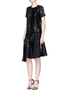 JourdenAsymmetric pleated gel stripe fil coupé skirt