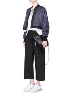 Public School'Silvia' ruched nylon cropped bomber jacket