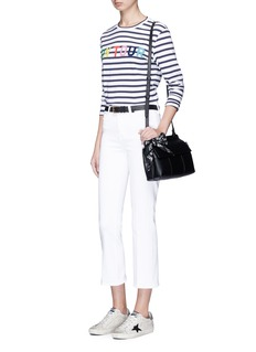 Etre Cecile  'ON TOUR' flocked print stripe long sleeve T-shirt