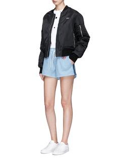 Etre Cecile 'Retro' logo embroidered drawstring denim shorts