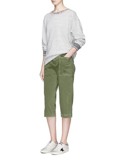 James Perse Distressed twill cropped drawstring waist pants