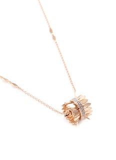 Ferrari Firenze 'Sole' diamond 18k rose gold hoop leaf pendant necklace